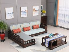 中式老榆木轉角沙發